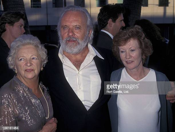 Actor Anthony Hopkins mother Muriel Hopkins and wife Lyn Davis attend the world premiere of 'The Mask Of Zorro' on July 10 1998 at the Academy...