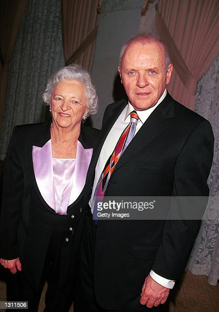 Actor Anthony Hopkins poses with his mother at the Holly Jolly Jubilee for the TV and Motion Pictures Mothers 2000 Awards December 9 2000 in Beverly...