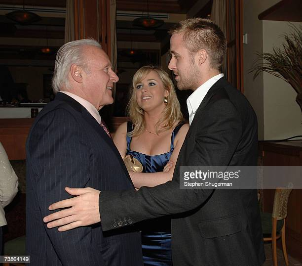 Actor Anthony Hopkins Ryan Gosling's sister Mandi and actor Ryan Gosling attend the after party following the LA premiere of Newline's 'Fracture' on...