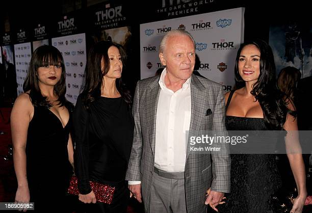 Actor Anthony Hopkins with family arrive at the premiere of Marvel's 'Thor The Dark World' at the El Capitan Theatre on November 4 2013 in Hollywood...