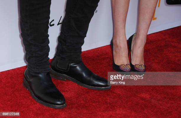 Actor Anthony LaPaglia and Alexandra Hankel shoe detail attend the 2017 Los Angeles Film Festival Premiere of Warner Brothers Pictures' 'Annabelle...