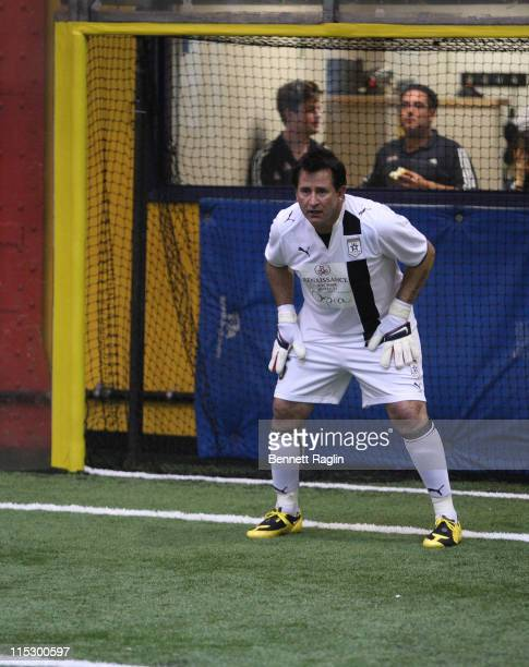Actor Anthony LaPaglia tends goal during the 2009 Setanta Cup Hollywood United Football Club exhibition game at the Field House at Chelsea Piers on...