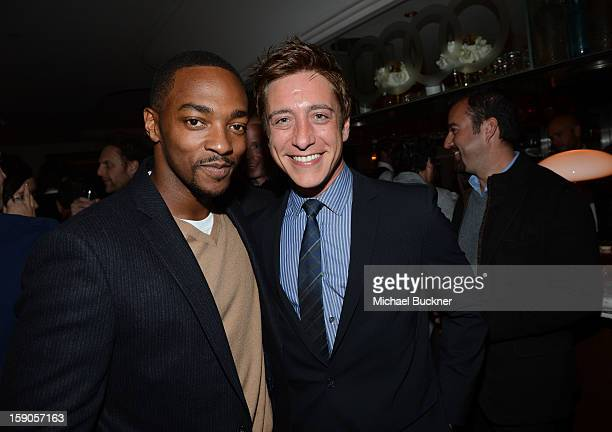 Actor Anthony Mackie and guest attend the Audi Golden Globes Kick Off 2013 at Cecconi's Restaurant on January 6 2013 in Los Angeles California