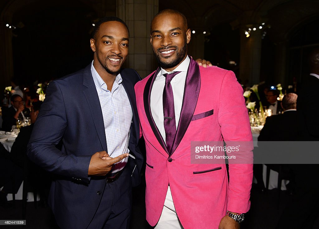 Actor Anthony Mackie (L) and model Tyson Beckford attend Montblanc Celebrates 90 Years of the Iconic Meisterstuck on April 3, 2014 at Guastavino's in New York City.