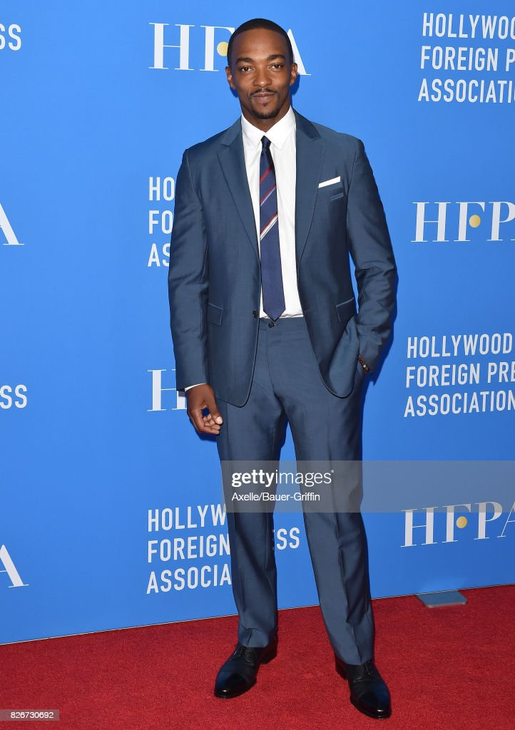 Actor Anthony Mackie arrives at the Hollywood Foreign Press Association's Grants Banquet at the Beverly Wilshire Four Seasons Hotel on August 2, 2017 in Beverly Hills, California.