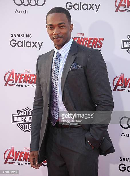 Actor Anthony Mackie arrives at the Los Angeles premiere of Marvel's Avengers Age Of Ultron at Dolby Theatre on April 13 2015 in Hollywood California