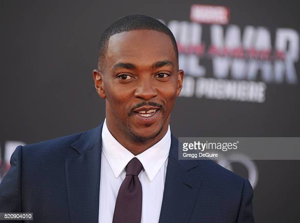 Actor Anthony Mackie arrives at the premiere of Marvel's Captain America Civil War on April 12 2016 in Hollywood California