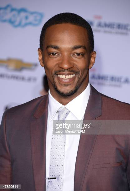 Actor Anthony Mackie arrives for the premiere of Marvel's Captain America The Winter Soldier at the El Capitan Theatre on March 13 2014 in Hollywood...