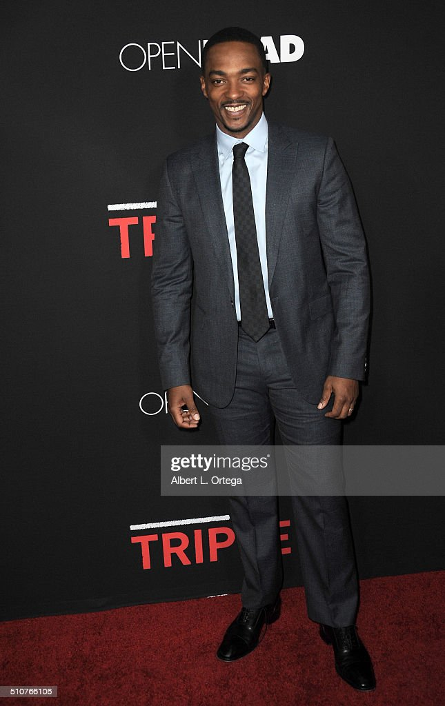 Actor Anthony Mackie arrives for the premiere of Open Road's 'Triple 9' held at Regal Cinemas L.A. Live on February 16, 2016 in Los Angeles, California.