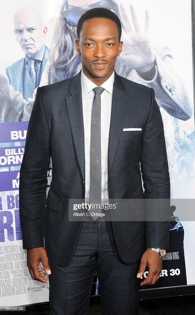 Actor Anthony Mackie arrives for the Premiere Of Warner Bros. Pictures' 'Our Brand Is Crisis' held at TCL Chinese Theatre on October 26, 2015 in Hollywood, California.