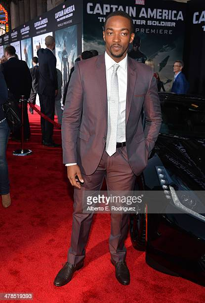 """Actor Anthony Mackie attends Marvel's """"Captain America: The Winter Soldier"""" premiere at the El Capitan Theatre on March 13, 2014 in Hollywood,..."""