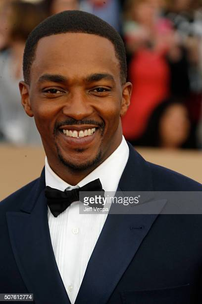 Actor Anthony Mackie attends the 22nd Annual Screen Actors Guild Awards at The Shrine Auditorium on January 30 2016 in Los Angeles California