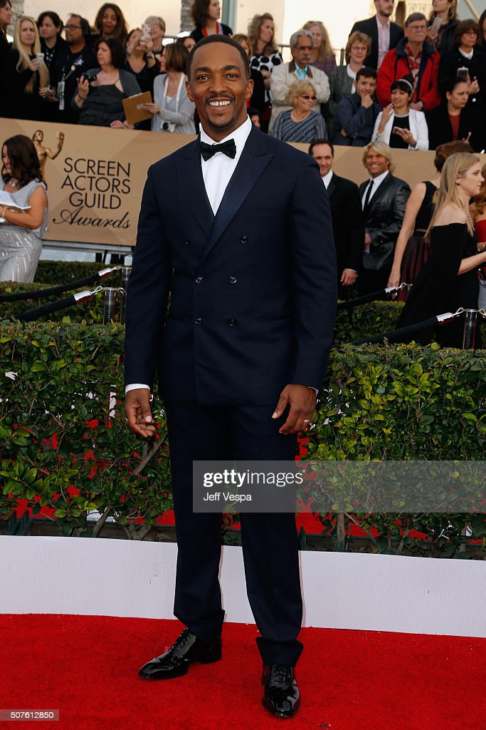 Actor Anthony Mackie attends the 22nd Annual Screen Actors Guild Awards at The Shrine Auditorium on January 30, 2016 in Los Angeles, California.
