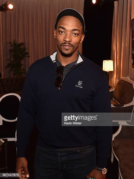 Actor Anthony Mackie attends The 22nd Annual Screen Actors Guild Awards Red Carpet RollOut and BehindTheScenes Day 2 at The Shrine Auditorium on...
