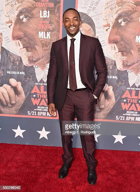 Actor Anthony Mackie attends the 'All The Way' Los Angeles Premiere at Paramount Studios on May 10 2016 in Hollywood City