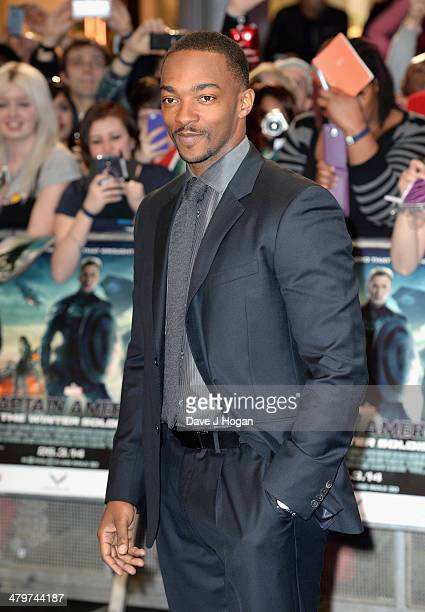 """Actor Anthony Mackie attends the """"Captain America: The Winter Soldier"""" UK film premiere at Westfield on March 20, 2014 in London, England."""
