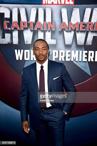 Actor Anthony Mackie attends the premiere of Marvel's 'Captain America Civil War' at Dolby Theatre on April 12 2016 in Los Angeles California