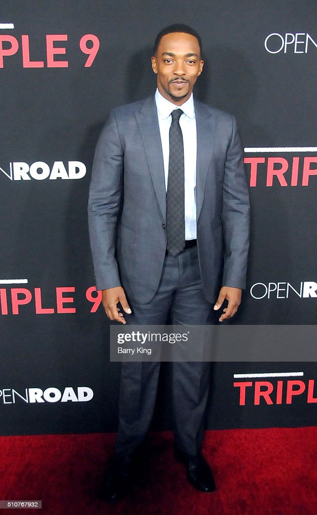 Actor Anthony Mackie attends the premiere of Open Road's 'Triple 9' at Regal Cinemas L.A. Live on February 16, 2016 in Los Angeles, California.