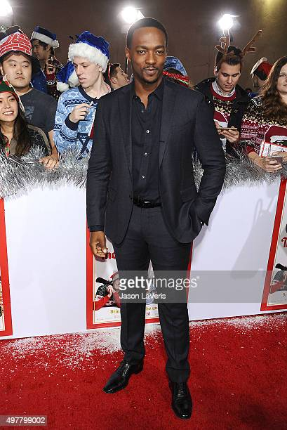 Actor Anthony Mackie attends the premiere of 'The Night Before' at The Theatre At The Ace Hotel on November 18 2015 in Los Angeles California