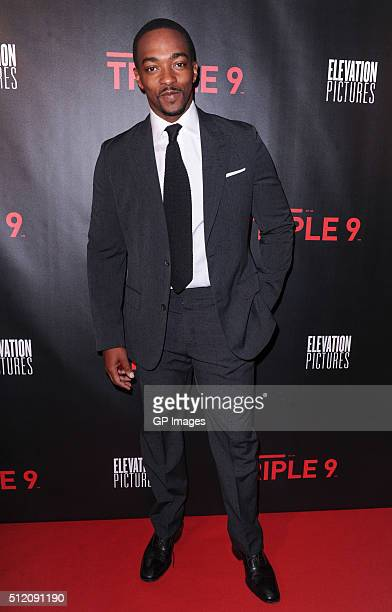 Actor Anthony Mackie attends the Premiere of 'Triple 9' at the Scotiabank Theatre on February 24 2016 in Toronto Canada