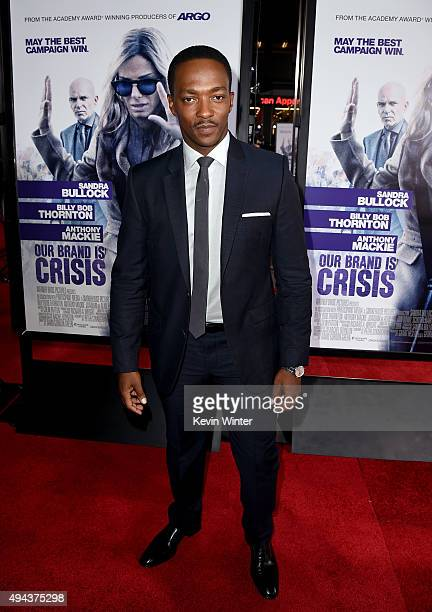 Actor Anthony Mackie attends the premiere of Warner Bros Pictures' 'Our Brand Is Crisis' at TCL Chinese Theatre on October 26 2015 in Hollywood...