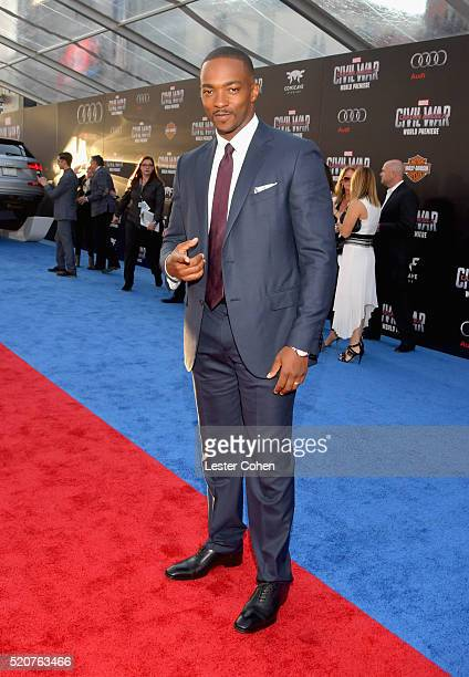 Actor Anthony Mackie attends The World Premiere of Marvel's 'Captain America Civil War' at Dolby Theatre on April 12 2016 in Los Angeles California