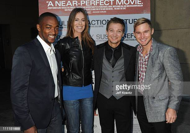 Actor Anthony Mackie Director Kathryn Bigelow Actor Jeremy Renner and Actor Brian Geraghty arrive at Summit Entertainment's Premiere of 'The Hurt...