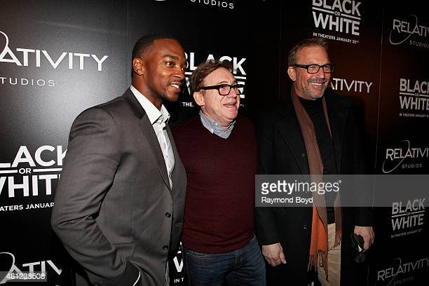 Actor Anthony Mackie Director Screenwriter Producer and Actor Mike Binder and Director Producer and Actor Kevin Costner poses for photos prior to the...