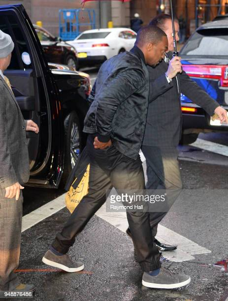 Actor Anthony Mackie is seen arriving at 'Good Morning America'on April 19 2018 in New York City