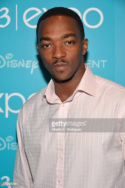 Actor Anthony Mackie of Captain America The Winter Soldier attends Let the Adventures Begin Live Action at The Walt Disney Studios presentation at...