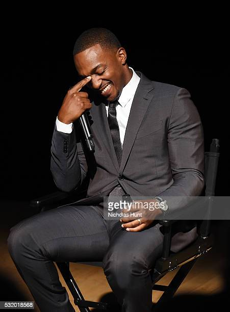 Actor Anthony Mackie participates in a panel discussion after the NYC special screening of HBO Films' 'All The Way' at Jazz at Lincoln Center on May...