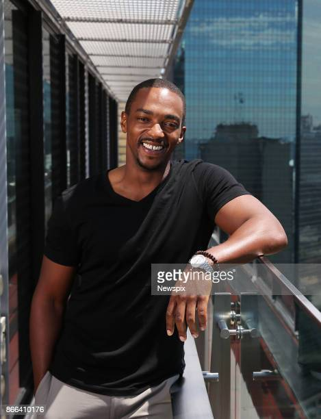 SYDNEY NSW Actor Anthony Mackie poses during a photo shoot in Sydney New South Wales The actors were in Sydney to promote their new movie 'Detroit'