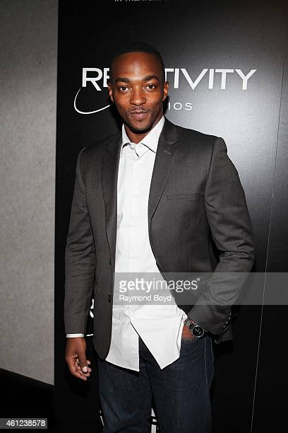 Actor Anthony Mackie poses for photos prior to the 'Black Or White' movie screening at the Kerasotes Showplace Icon Theatres in Chicago on January 08...