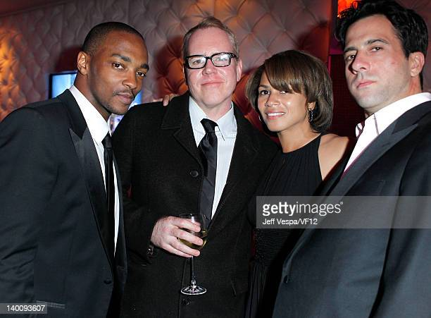 Actor Anthony Mackie Simone Bent and actorTroy Garrity attend the 2012 Vanity Fair Oscar Party Hosted By Graydon Carter at Sunset Tower on February...