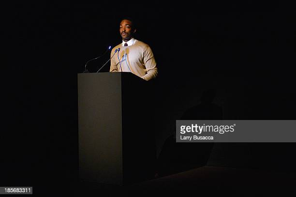 Actor Anthony Mackie speaks during PRADA Journal A Literary Contest In Collaboration With Feltrinelli Editore at the Prada Epicenter Store on October...