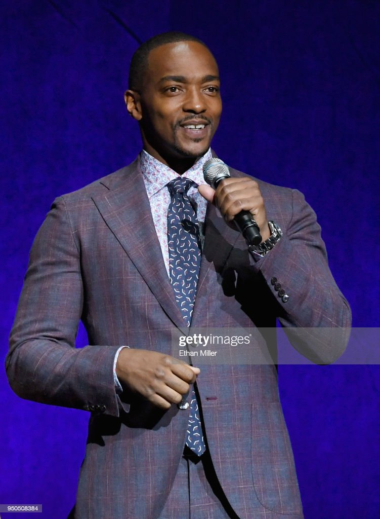 Actor Anthony Mackie speaks onstage during the CinemaCon 2018 Gala Opening Night Event: Sony Pictures Highlights its 2018 Summer and Beyond Films at The Colosseum at Caesars Palace during CinemaCon, the official convention of the National Association of Theatre Owners, on April 23, 2018 in Las Vegas, Nevada.