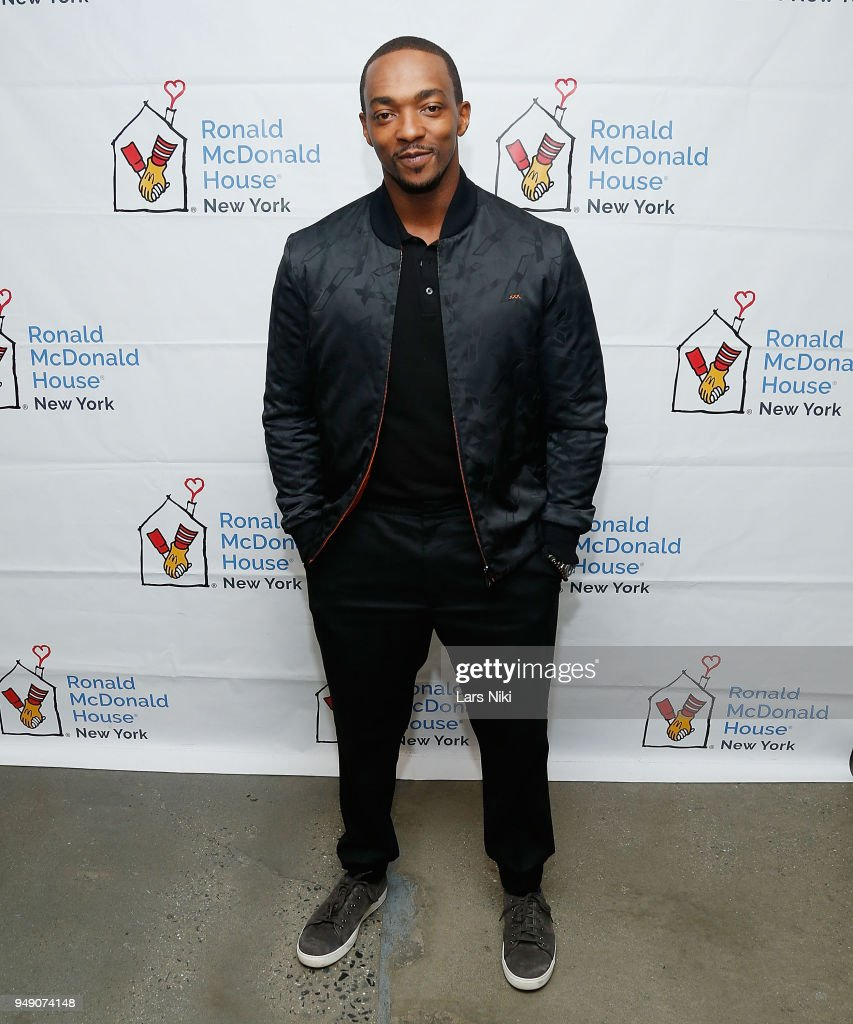 Actor Anthony Mackie, star of Avengers Infinity War, greets some young fans and hands out gifts at Ronald McDonald House New York on April 19, 2018 in New York City. Event coordinated by MDC Productions, toys generously donated by Hasbro.