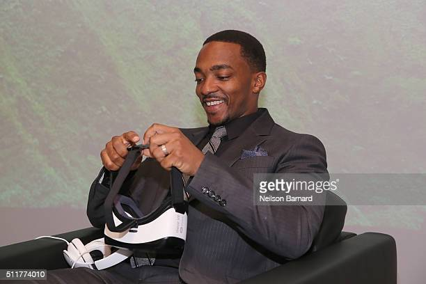 Actor Anthony Mackie tries the Samsung products as he attends Samsung 837 Launch with Florence The Machine at Samsung 837 in Meatpacking District on...