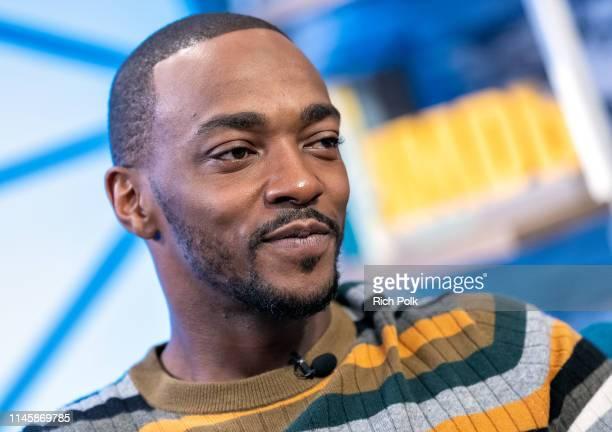 Actor Anthony Mackie visits 'The IMDb Show' on April 24 2019 in Studio City California This episode of 'The IMDb Show' airs on May 2 2019