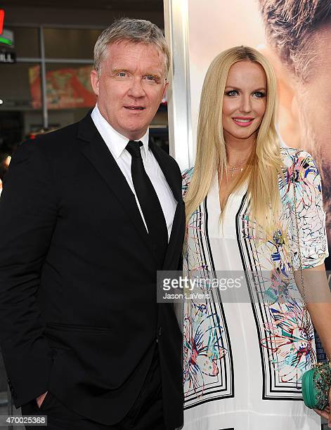 Actor Anthony Michael Hall and Lucia Oskerova attend the premiere of 'The Water Diviner' at TCL Chinese Theatre IMAX on April 16 2015 in Hollywood...