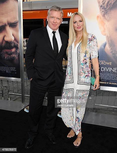 Actor Anthony Michael Hall and Lucia Oskerova attend the premiere of The Water Diviner at TCL Chinese Theatre IMAX on April 16 2015 in Hollywood...