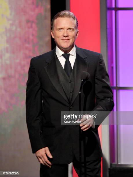 Actor Anthony Michael Hall speaks onstage during The 25th American Cinematheque Award Honoring Robert Downey Jr held at The Beverly Hilton hotel on...