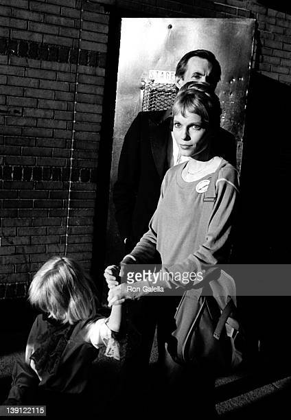 Actor Anthony Perkins actress Mia Farrow and son attend 34th Annual Tony Awards on June 8 1980 at the Mark Hellinger Theater in New York City