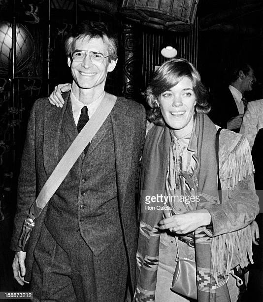 "Actor Anthony Perkins and Berry Berenson attend the opening of ""Romantic Comedy"" on November 8, 1979 at the Barrymore Theater in New York City."