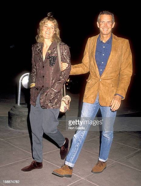 Actor Anthony Perkins and wife Berry Berenson attend the Sandy Gallin's 50th Birthday Party on May 27 1990 at Eureka Restaurant in Los Angeles...