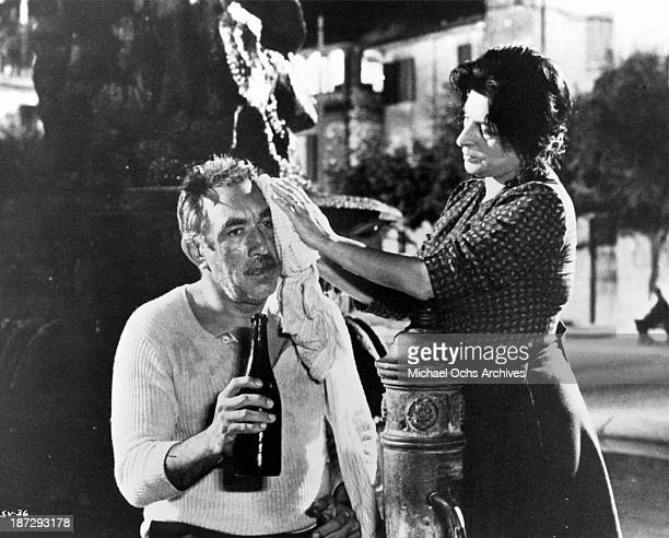 Actor Anthony Quinn and actress Anna Magnani on set of the United Artist movie The Secret of Santa Vittoria in 1969