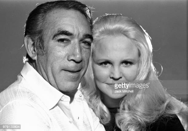Actor Anthony Quinn and singer Peggy Lee photographed in August 1970