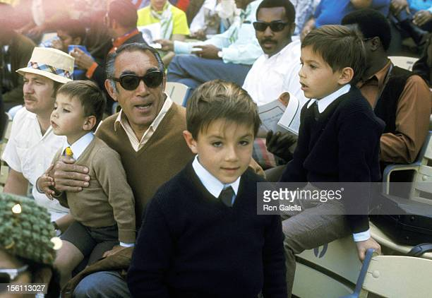 Actor Anthony Quinn and sons Danny Quinn Lorenzo Quinn and Francesco Quinn attend the Martin Luther King Jr AllStar Baseball Game Benefit on March 28...