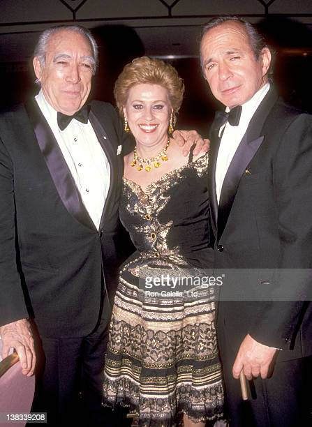 Actor Anthony Quinn and wife Jolanda Addolori and Actor Ben Gazzara attend the Shimada Broadway Opening Night Party on April 23 1992 at Marriott...