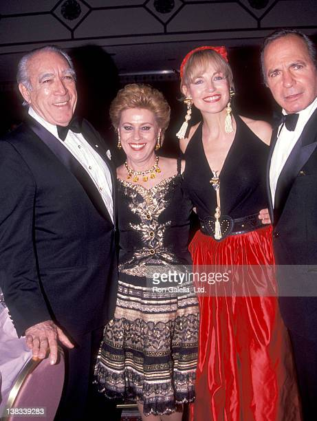 Actor Anthony Quinn and wife Jolanda Addolori and Actor Ben Gazzara and wife Elke Krivat attend the Shimada Broadway Opening Night Party on April 23...